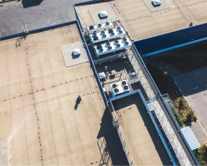 Arial View of Commercial Roofing