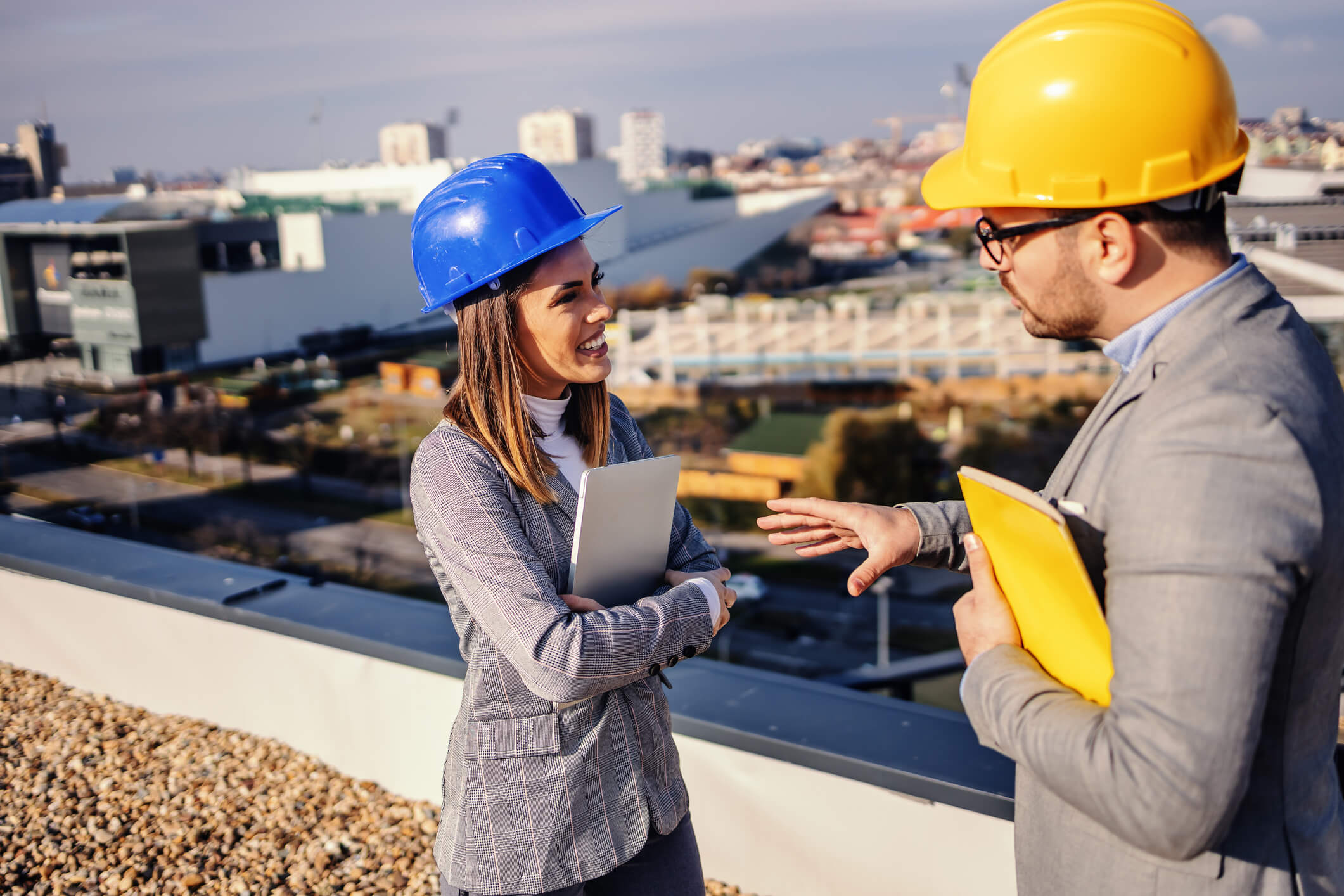 Commercial Roofers discussing Quote